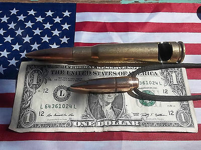 50 cal bmg Bullet   BOTTLE OPENER + HOGS TOOTH  PENDANT GREEN  CORD