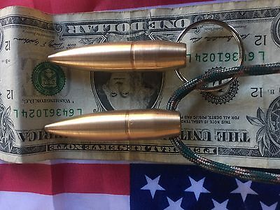 2-1 50CAL 50 CAL BMG Bullet tip Necklace 1 Black PARACHUTE CORD HOGS TOOT
