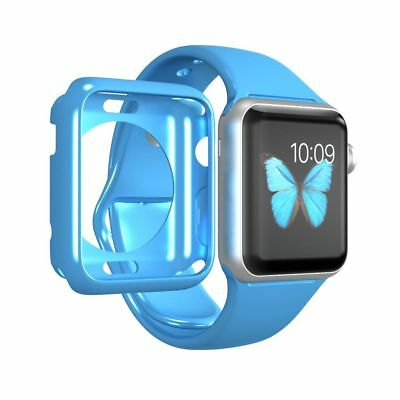 LUVVITT APPLE WATCH 42mm BLUE CASE PLUS TEMPERED GLASS  PROTECTIVE FILM SCREEN