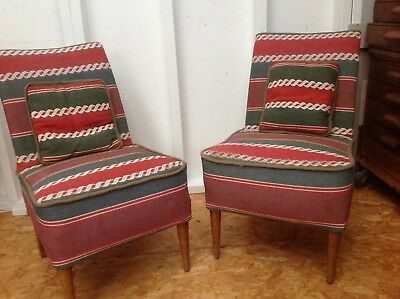 Pair Cocktail  Chairs Mid Century Vintage Retro