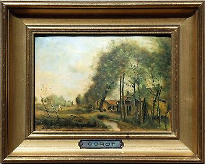 ROAD of SIN-LE-NOBLE - Miniature enameled on hammered copper plate (COROT)