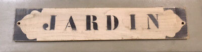 Painted French Stencilled Wooden Sign 'jardin'