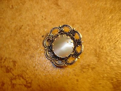 Beautiful vintage silver metal button with pearl.
