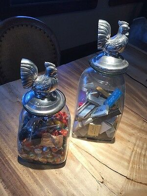 Pair Of Large Glass Decorative Containers With Pewter Rooster Tops