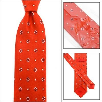 "New BRIONI Italy disN.D010171 Strawberry Red Abstract 3.25"" Woven Silk Neck Tie"