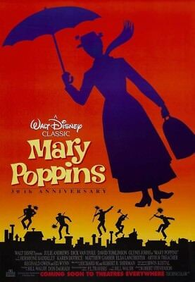 MARY POPPINS MOVIE POSTER 1 Sided RARE ORIGINAL 30th Ann. 27x40 JULIE ANDREWS