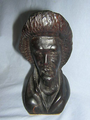 Antique 19th Century Hand Carved Hardwood Figural Sculpture Statue Bust of Man