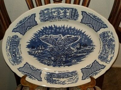 """Alfred Meakin Fair Winds In Blue Historical Scenes Large Platter 15"""" Ex-Cond"""