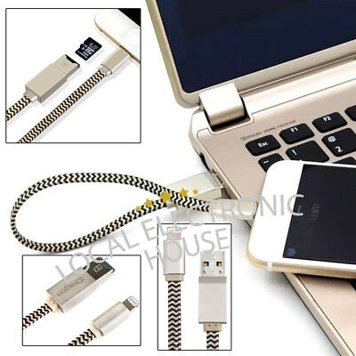 i Flash USB Drive Lightning Data Cable Micro SD Memory TF Card Reader for iPhone