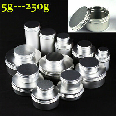 5~250g Empty Aluminium Cosmetic Jar Tin Container Silver Box Screw Lid 1~100X