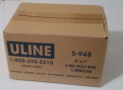 "Uline 2 Mil Industrial Poly Bags, S-948, 5x7"" 1000 bags parts,shipping, L411"