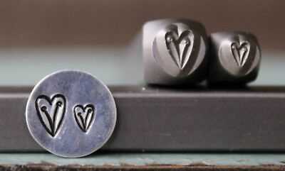 SUPPLY GUY 6mm and 4mm Heart Vine Metal Punch Design 2 Stamp Set SGCH-181182