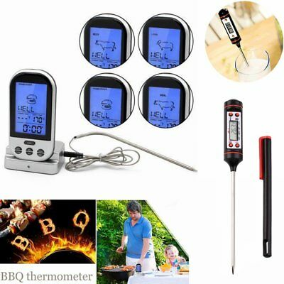 Digitales Bratenthermometer Funk Grillthermometer Fleisch-Thermometer wireless ✈