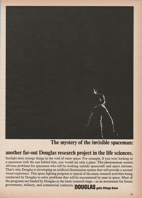 1966 Invisible Spaceman Astronaut Space Research Project Douglas Print Ad