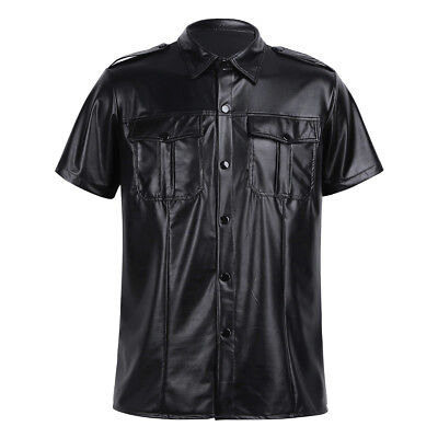 Men's Faux Leather Slim Fit Short Sleeve Muscle Tee T-shirt Police Uniform Tops