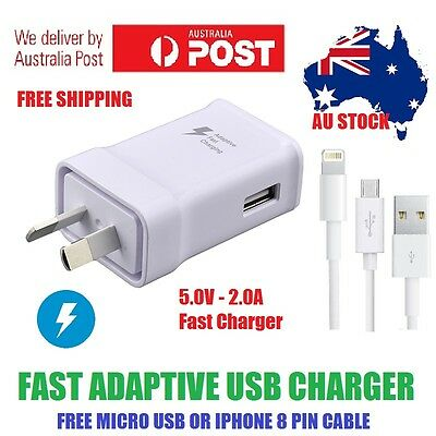 Genuine SAMSUNG Adaptive Fast Charger Adapter and A+ USB Cable - FREE AU POST