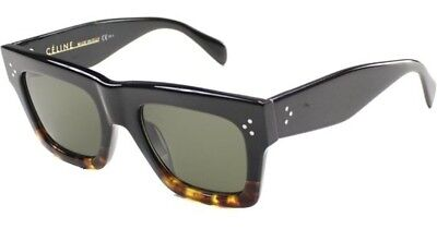 Celine Women's CL 41054S 41054/S FU5/1E Black/Havana Square Sunglasses 50mm