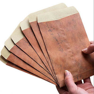 10pcs Vintage Paper Envelopes Mini Retro Brown Kraft Paper Postcards 16X11cm