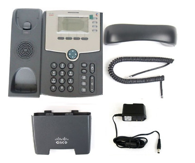 Cisco SPA504G 4-Line IP VoIP Phone PoE PC Port LCD Display +Stand +Power Adapter