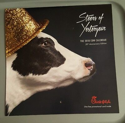 BRAND NEW 2018 Chick Fil A Cow Calendar W/CARD for 12 free food items $60 Value!