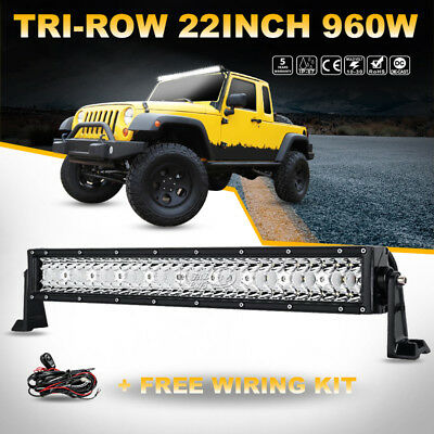 "TRI ROW CREE 960W 22""INCH LED LIGHT BAR OFFROAD 24"" 20""+Free Wiring Kit Boat Car"