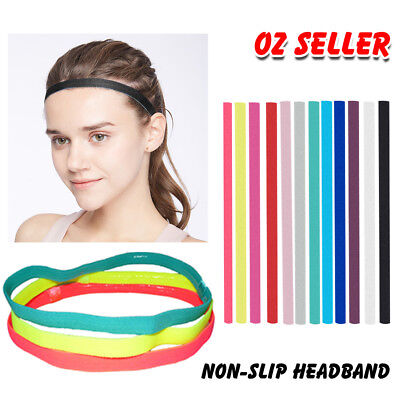 Thin SINGLE Band Elastic Sports Gym Anti Slip Headband Rubber Hair Band