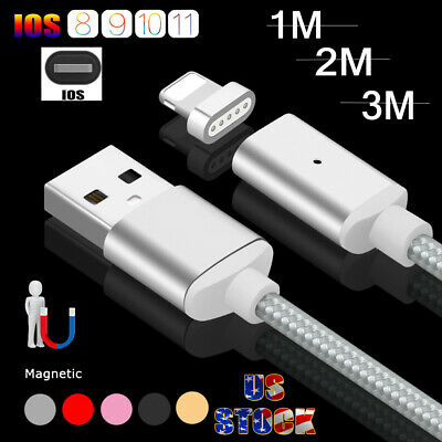 US Braided Magnetic Charger USB Charging Transfer Cable For iPhone 8 7 6 6S Plus
