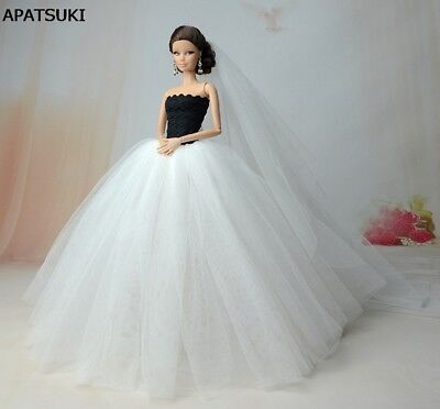 White Wedding Dress For Barbie Doll Party Dresses +Veil 1:6 Doll Accessories