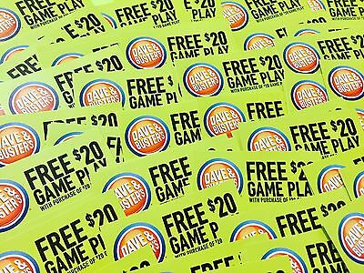 Lot of 10 Dave And & Busters D&B $20 gameplay with identical purchase powercard