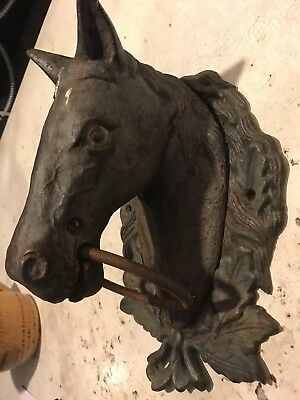 Vintage Cast Iron Horse Head Wall Mount Hitch Old Estate Barn