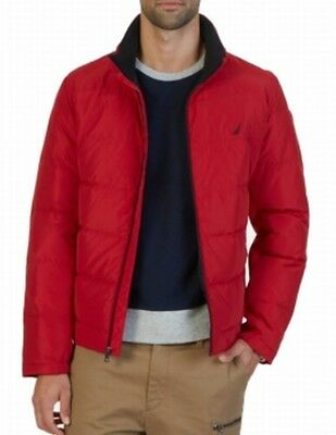 Nautica NEW Real Red Mens Size Large L Quilted Full-Zip Puffer Jacket $158 060