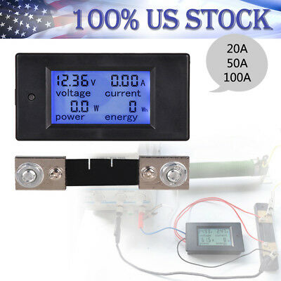 DC6.5~100V 20-100A 4 in 1 LCD Digital Combo Panel Meter Volt Amp Power Watt Hour
