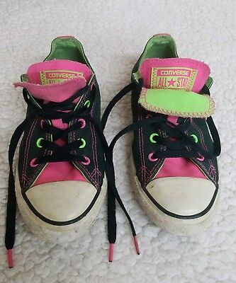 02e63181cb23 CONVERSE Girls Pink Chuck Taylor All Star Double tongue size 2 Shoes  Sneakers