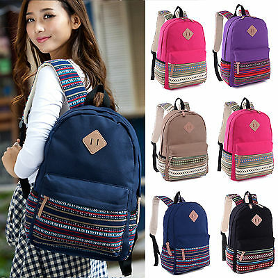 Womens Girls Canvas Backpack Shoulder Book School Bag Travel Rucksack Satchel