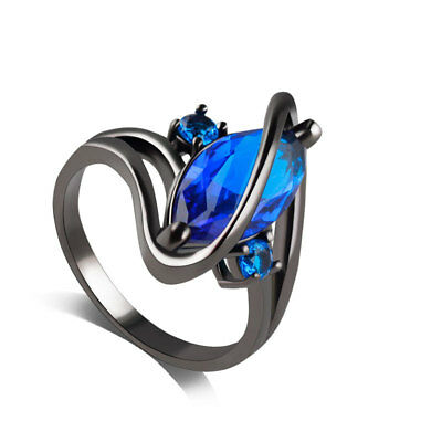 Hot Sale Fashion Jewelry Solitaire marquise Cut Blue CZ Black Gold Plated Ring