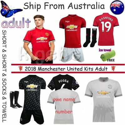 2018 Men's Soccer Adult Football Home/Away Kit Suit Jersey & Shorts & Socks S-XL