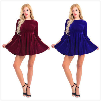 Womens Sexy Shining Velvet Long Sleeve Ruffle Cocktail Party Flare A Line  Dress 862a47148