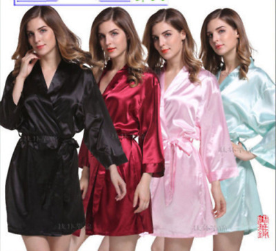 Women Ladies Robe Silk Satin Robes Wedding Bridesmaid Bride Gown Kimono Plain
