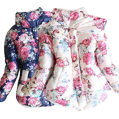 Winter Warm Kids Girls Cotton Floral Printed Snow Coat Down Jacket Thick Outwear
