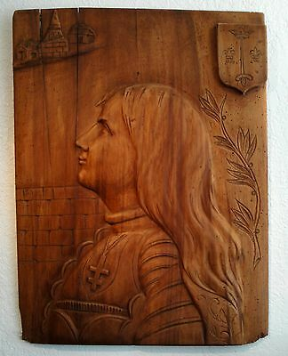 Rare Large Antique French Carved Wood Joan of Arc Panel Wall Piece 19th century