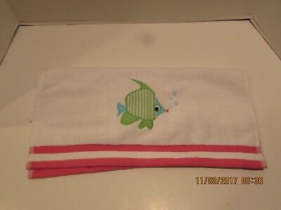 "Pottery Barn Kids ""under The Sea Fish"" Pink Hand Towel..new"