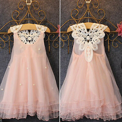 Kids Toddler Girls Lace Pearl Party Princess Dress Tulle Tutu Dresses Wedding AU