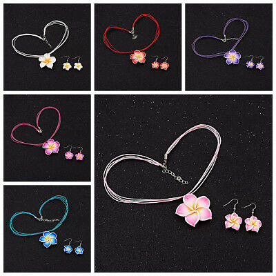 1 Set Girls Kids Children Gifts Flower Necklace Earrings Jewellery Sets 6 Colors