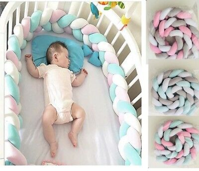 Plush Braid Baby Kids Bedding Bumpers Knotted Pillow Cushion Child's Room Decor