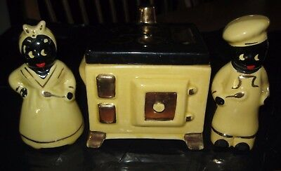 Rare Vintage Black Americana Salt and Pepper Shaker with Yellow Grease Jar Stove
