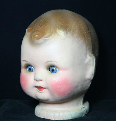 Antique  Doll Head  Papier -  Mache with sleeping Glass Eyes