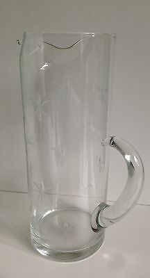 Clear glass hand blown Fleur De Lis etched Cocktail Pitcher with stirrer