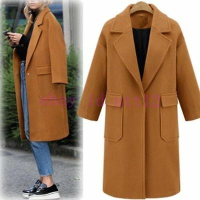 New Womens Wool Blend Knee Long Lapel Button Coat Winter Outwear Jacket Fashion
