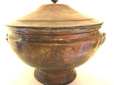 Antique Persian Islamic Arabic Copper Bow Pot W/lid Rams Heads Engraved/etched