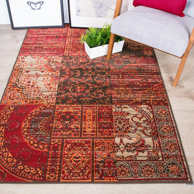 Traditional Patchwork Living Room Runner Rug Red Orange Oriental Large Small